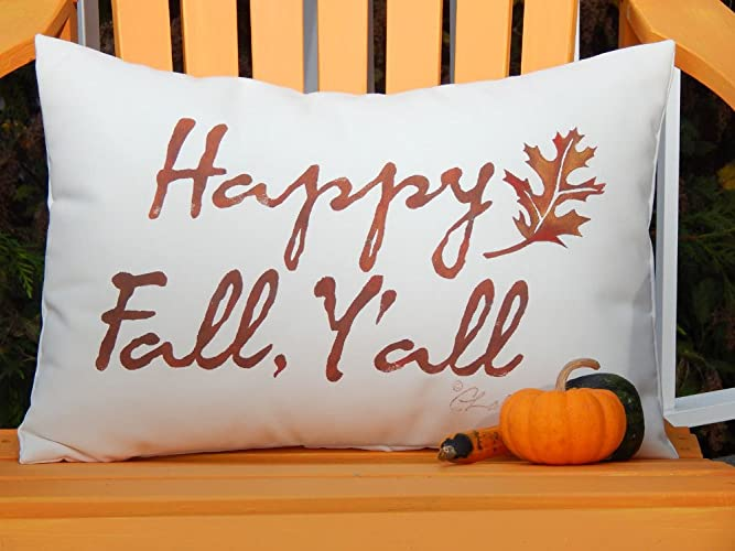 Happy Fall Yu0027all Handcrafted Painted Indoor Outdoor Pillow Autumn Seasonal  Decor Porch Handmade In