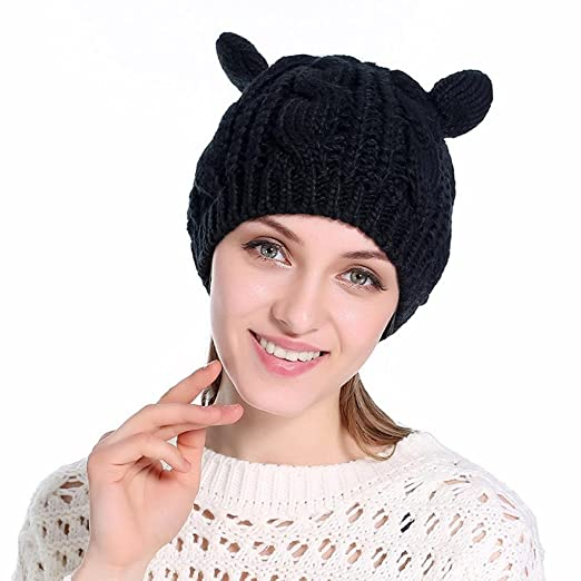 Showking Fashion Women Knit Cap Hedging Head Hat Beanie Cap Outdoor Warm Hat  (Black) d6f0d38fd34e