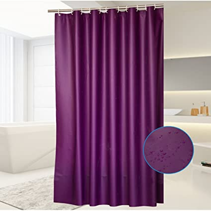 Uforme PEVA Solid Color Waterproof Mildew Bathroom Shower Curtain Shade Curtains With Plastic Hooks 118Wx78L