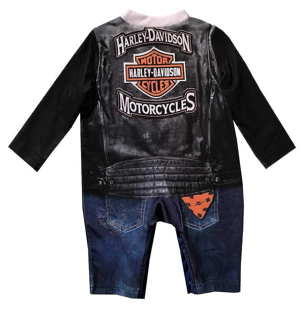 Harley-Davidson Boys Black /& White Printed Black Faux Vest Creeper 3050629