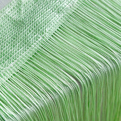 Door String Curtain Wall Panel Window Room Divider Blind, Home Decorative Tassel Screen Ribbon Strings, 100x200cm, Green -
