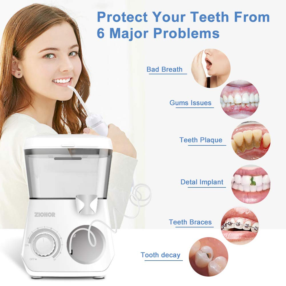 ZIONOR Water Flosser Teeth Cleaner, 600ML Large Electric Oral Flosserr, Professsional Dental Countertop Oral Irrigator with 10 Adjustable Pressure For Water Flow Control, 8 Water Jets For Whole Family
