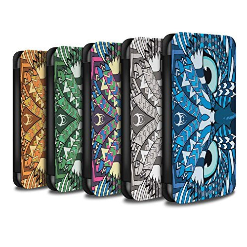 Stuff4 Coque/Etui/Housse Cuir PU Case/Cover pour Apple iPhone 8 / Hibou-8 Pack Design / Motif Animaux Aztec Collection
