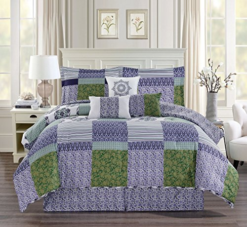 - 11 Piece Britol Patchwork Bed in a Bag Set Cal King