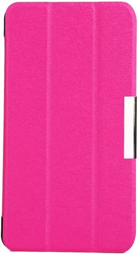 """Leather Case Tablet Cover Compatible with Acer Iconia Talk S A1-724 7 inch, Ultra Thin Slim Folio Stand Silk Leather Case with Smart Cover Auto Wake/Sleep Feature for 7"""" A1-724 (Peach Red)"""