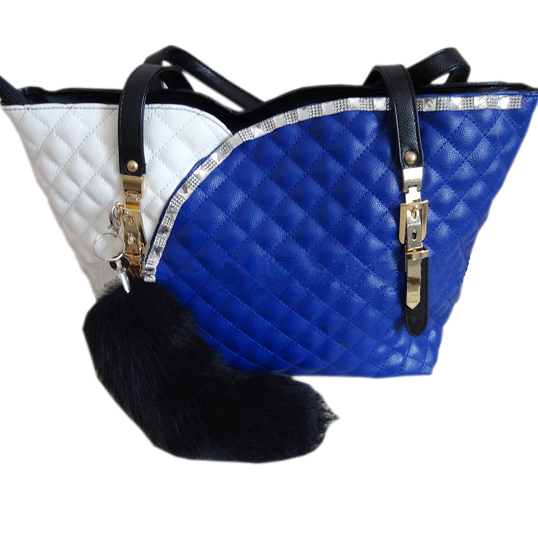 "Unko Fashion Classic Black Fox Fur Tail 16"" Keychain Natural Color"