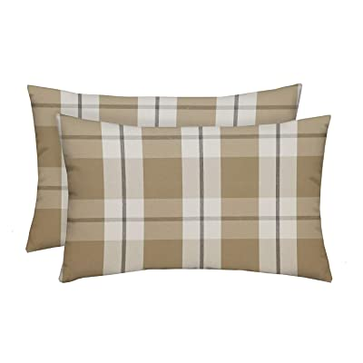 "RSH Décor Indoor Outdoor Grey Brown Tan Prints - 2-20""x12"" Rectangle Lumbar Pillow Set Weather Resistant - Choose Pillow Color (Branson Birch Beige Tan Farmhouse Buffalo Plaid): Home & Kitchen"