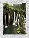 Ambesonne Waterfall Decor Tapestry, Circled Waterfalls in Crotia with a Rustic Wood Cute Bridge Aside, Wall Hanging for Bedroom Living Room Dorm, 60 W x 80 L inches, Green and Brown