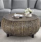 Drum Shaped Coffee Table Round Coffee Table - Woven Banana Leaf Accent Cocktail Table - Drum Shaped Design (Silver Gray Patina)