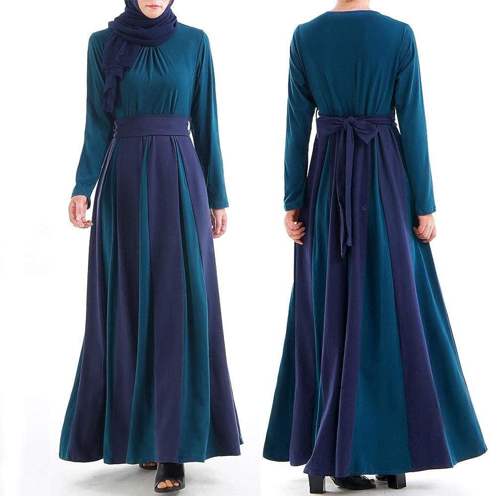 ZYDP Robe maxi à manches longues for femmes en mousseline de soie Robe musulmane Abaya avec ceinture, lien à nouer à la taille Multicolore