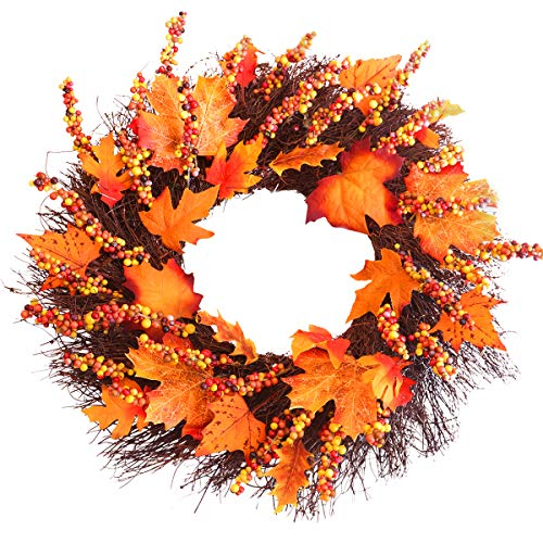 Fall Wreath, 18 inch Front Door Wreath, Christmas Wreath with Maple Leaf and Berry, Halloween Easter Wreath for Front Door, Ideal for Autumn & Halloween & Thanksgiving Day, Indoor Outdoor (yellow) (Door Small Wreath Front)