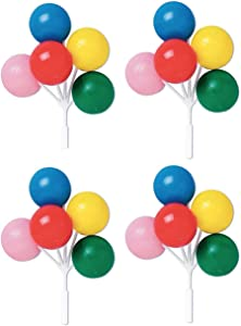 Oasis Supply Balloon Cluster Cake and Cupcake Topper, 5-Inch, Multicolored Reusable Plastic (8-Pack)