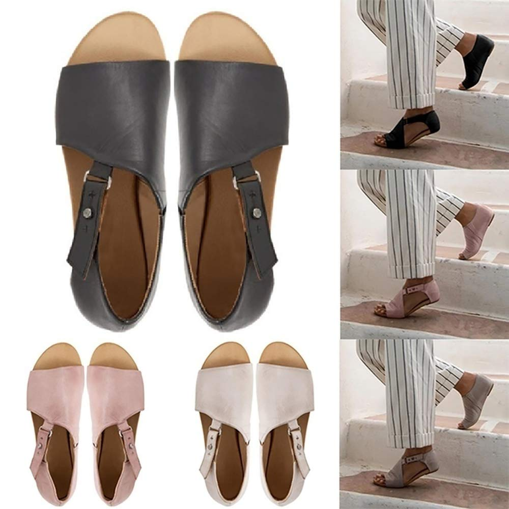 MORNISN Womens Casual Open Toe Flats Sandals Faux Leather Buckle Strap Summer Beach Slipper Shoes