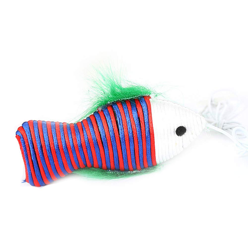Sannysis Kitten Cat Pet Toy Nylon Thread Fish with Rings Cat Catching Interactive Toy