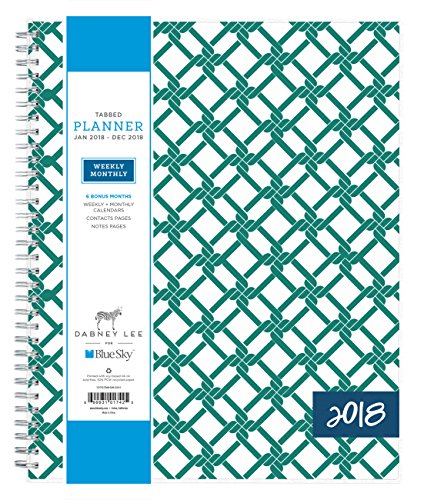 "Blue Sky Dabney Lee 2018 Weekly & Monthly Planner, Twin-Wire Binding, 8.5"" x 11"", Chain Link - 101742"