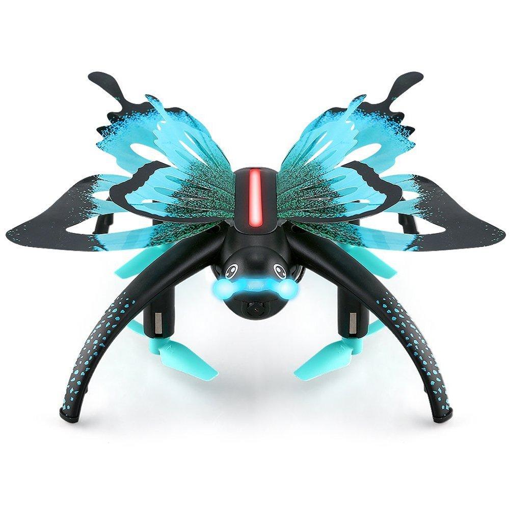 BEESCLOVER Quadrotor Butterfly Drone con Telecamera HD Trasmissione Live Comando vocale Volo 1-Key Return altitudine Ricambio Compatibile con iOS e Android Blu (esportazione Edition)