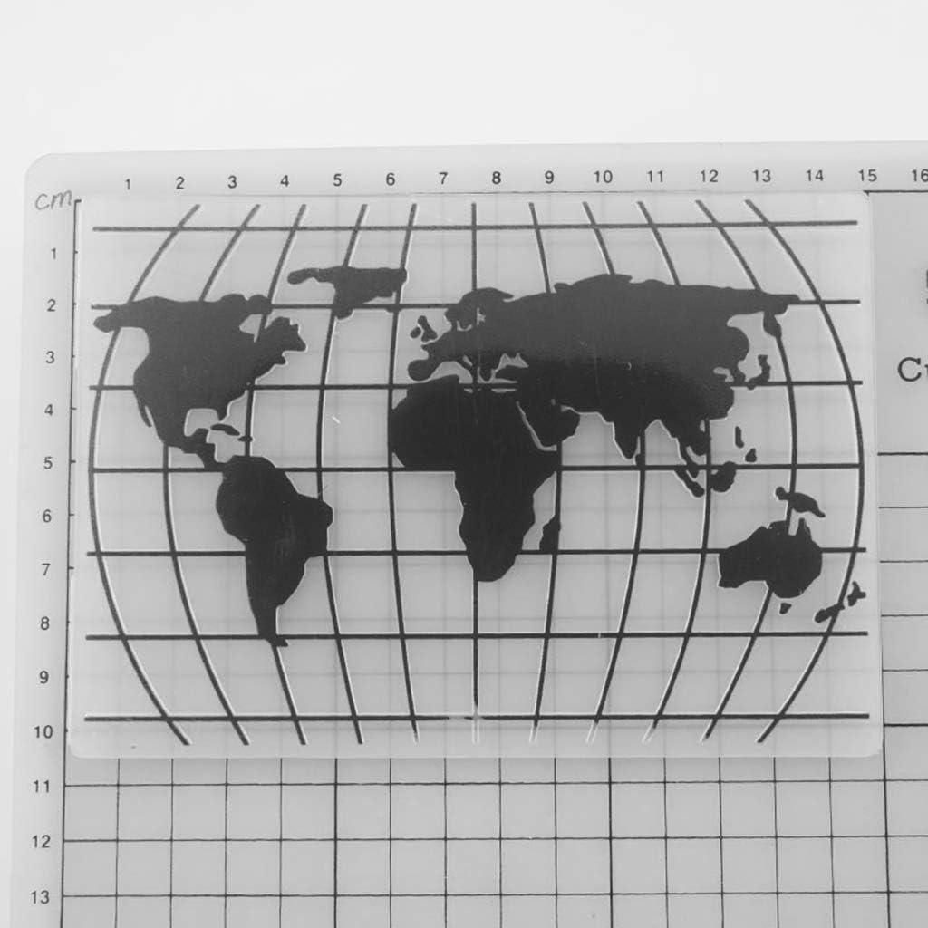 Fotoalbum Kartenherstellung zum Basteln Dekoration f/ür Sammelalben Basteln HELLOPOWT Pr/ägeschablone aus Kunststoff Weltkarte