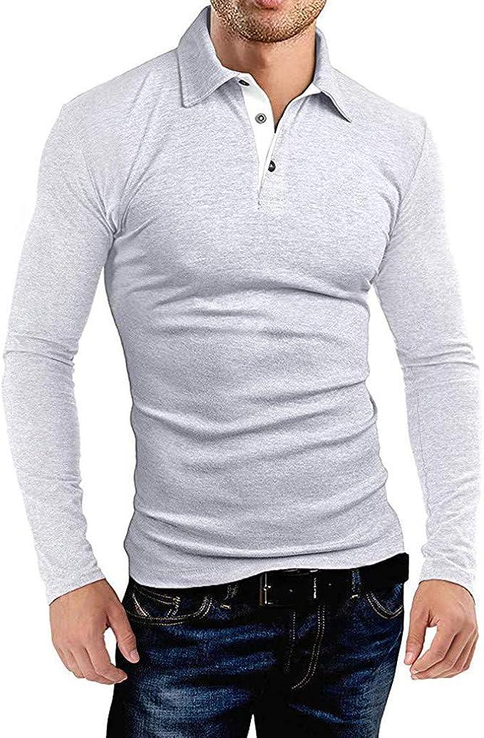 cimasa vantaggioso Armeggiare  UJUNAOR Polo Camicia Uomo Slim Fit Manica Lunga Elegante 2 Bottone Risvolto  Moda Casual S-2XL: Amazon.it: Abbigliamento