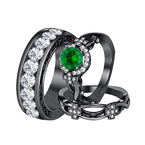 RUDRAFASHION 14k Black Gold Plated Round Cut Green Emerald 925 Sterling Silver Mens Anniversary Band Ring