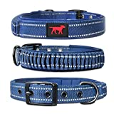 Heavy Duty Dog Collar With Handle | Ballistic Nylon Heavy Duty Collar | Padded Reflective Dog Collar With Adjustable Stainless Steel Hardware | Convenient Sizing for All Breeds