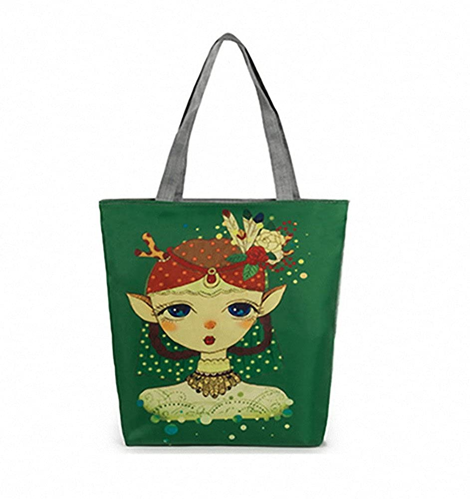 Fantasy Exotic Girl Reusable 100/% Cotton Canvas Tote Bag Ecofriendly Handmade Geocery Shopping Foldaway Bags
