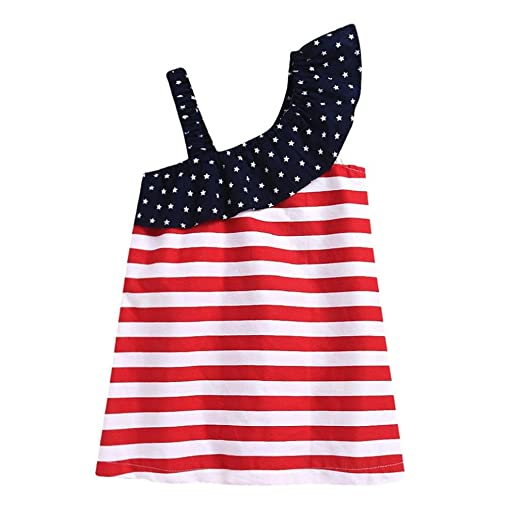 e857a2412106 Amazon.com  Lavany Little Girls Dresses Cute Baby Girl Stripe 4th of July  Cotton Casual Dress  Clothing