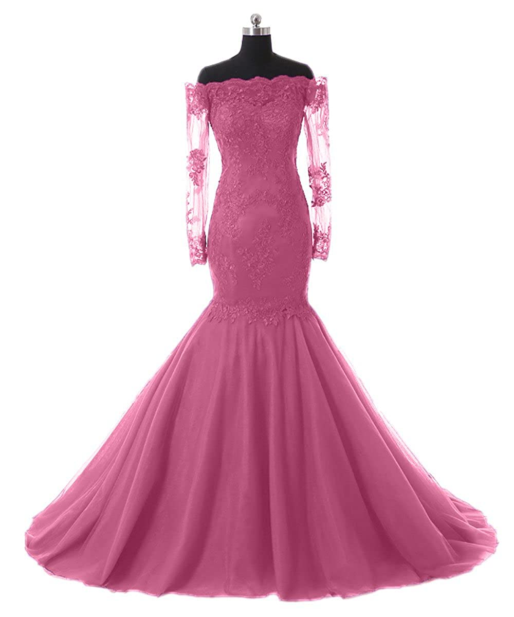 Hot Pink Promworld Women's Off The Shoulder Evening Dress with Sleeves Lace Mermaid Prom Formal Dresses