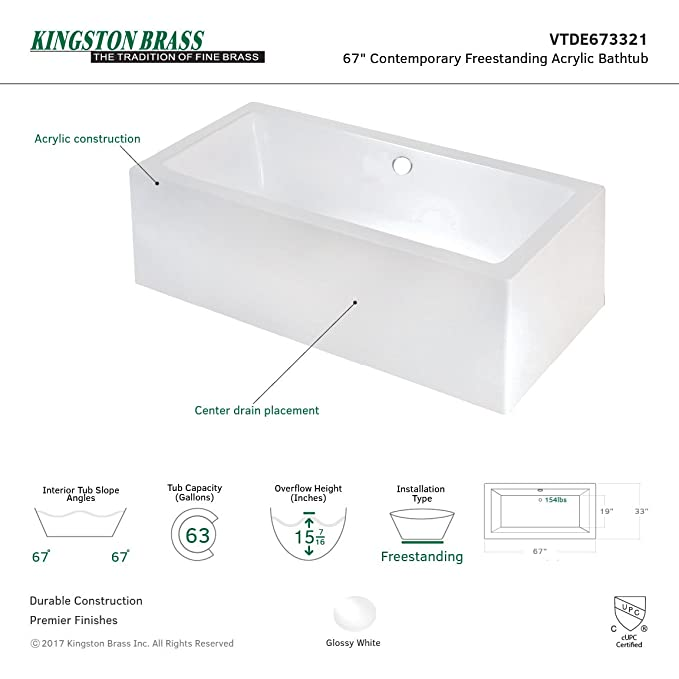 KINGSTON BRASS VTDE673321 67-Inch Contemporary Freestanding Acrylic ...