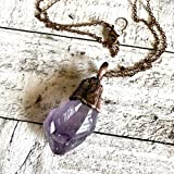 Raw Purple Amethyst Stone Crystal Pendant Necklace Boho Jewelry for Women