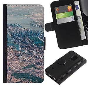 KingStore / Leather Etui en cuir / Samsung Galaxy S5 V SM-G900 / Ver Big City Paisaje del río;