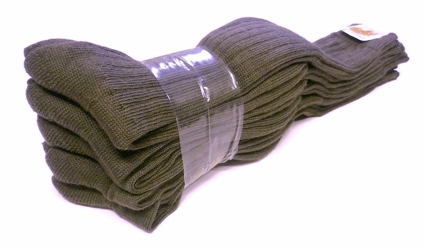 5 Paar Original Bundeswehr Kniestrümpfe m. Versorgungs-Nr., oliv, 70% Wolle, 30% Polyamid, BW Socken, Stiefelstrümpfe, Wollsocken, handgekettelt, ohne dicke Zehennaht, Made in Germany Stiefelstrümpfe