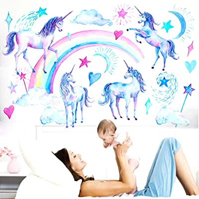 Watercolour Unicorn Wall Stickers Decor Kids Wall Decals Peel and Stick Removable Wall Decor for Children Kids Nursery Baby Girl's Bedroom Living Play Room (Rainbow Unicorn): Arts, Crafts & Sewing