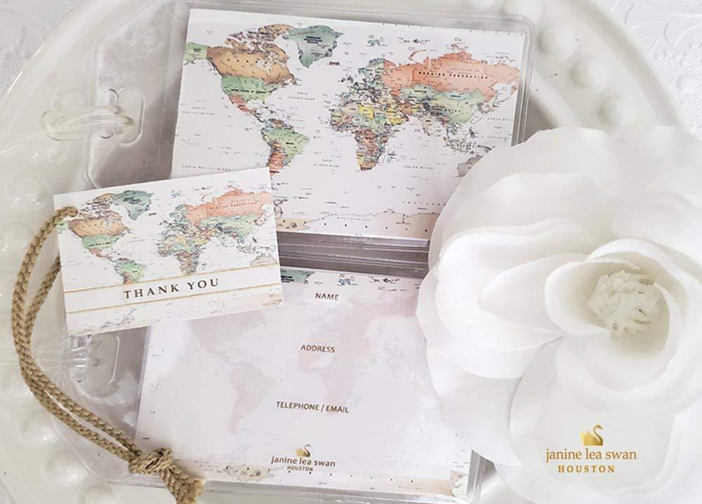 Janine Lea Swan designs 50 World Map Luggage Tag Favors Ivory $1.25 ea. by Janine Lea Swan designs