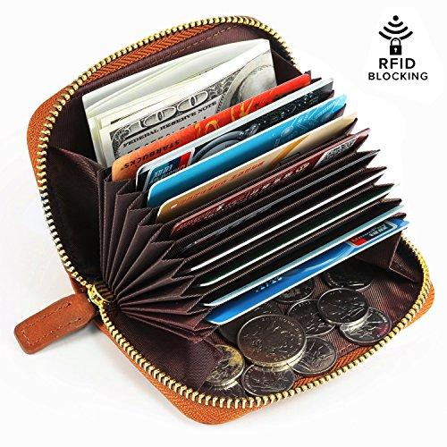 Kattee Leather Zip Around Wallet, Women's RFID Credit Card Small Wallet Brown by Kattee (Image #6)
