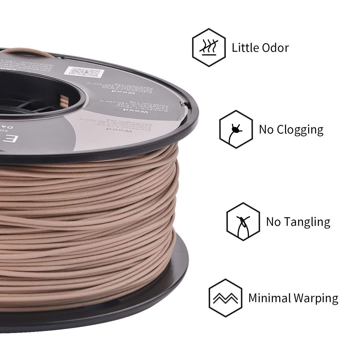 color claro madera Filamento de madera ERYONE PLA 1.75 mm para impresora 3D o bol/ígrafo 1 kg en embalaje al vac/ío