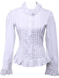 b4d2e598b62fad Antaina Weiß Baumwolle Rüsche Spitze Klassisch Viktorianisch Lolita Hemd  Bluse,MEHRWEG
