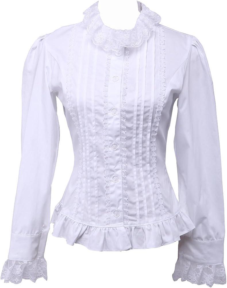 Blanca Algodón Volantes Encaje Classical Victoriana Lolita Camisa Blusa de Mujer, L: Amazon.es: Ropa y accesorios