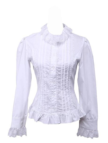 424a9e3e1ff an*tai*na* Blanca Algodón Volantes Encaje Classical Victoriana Lolita  Camisa Blusa de Mujer: Amazon.es: Ropa y accesorios