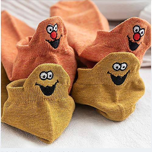 IBEILLI Women Cute Socks 10 Pairs Cotton Kawaii Embroidered Funny Low Cut Socks for Women Girls Ankle Socks (10 Pack Smile)