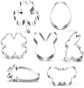 Shamrock Easter Cookie Cutter Set-3 Inches-7 Piece-Shamrock, Egg, Bunny, Carrot, Flower, Butterfly, Bunny Face, Easter Cutter Fondant Molds for Kids Holiday Celebration.