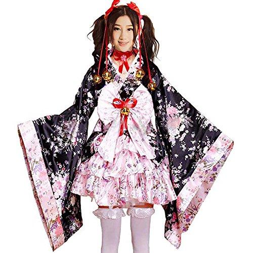 Women's Japanese Kimono Robe Costumes Geisha Cosplay Halloween Fancy Dress Pink L -