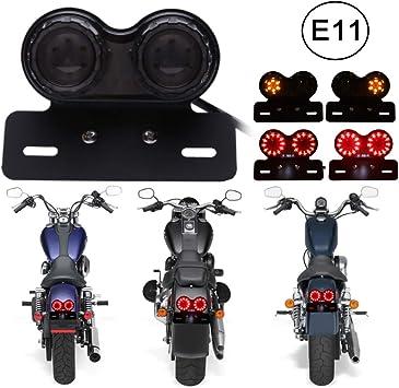 Dreamizer Universal 40 Led Dual Motorrad Rücklicht Bremslicht Blinker Lauflampe Mit Nummernschild Halterung Für Custom Street Bike Dirt Bike Cruiser Chopper Rauch Auto