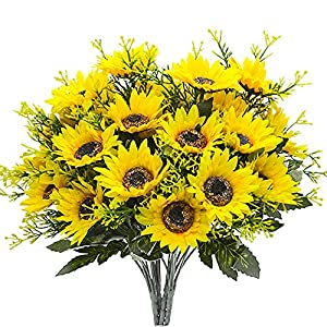 Grunyia Artificial Flowers Fake Sunflowers, 4PCS Faux Silk Flowers Floral Table Centerpieces Arrangements Home Kitchen Office Windowsill Hanging Spring Decorations 9