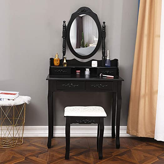 Vanity Set with Round Mirror and Cushioned Stool, Dressing Table, 4 Drawers Makeup, Writing Desk Makeup Table with Bench by Sandistore