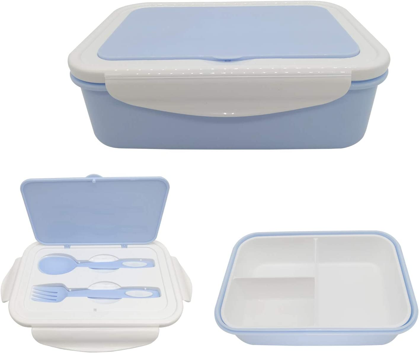 Bento Box, Lunch Box for Kids Adults, 3 Compartment Bento Lunch container, Food Storage Container Boxes, BPA Free On-the-Go Meal Prep Containers, Microwave/Dishwasher/Freezer Safe (BLUE)