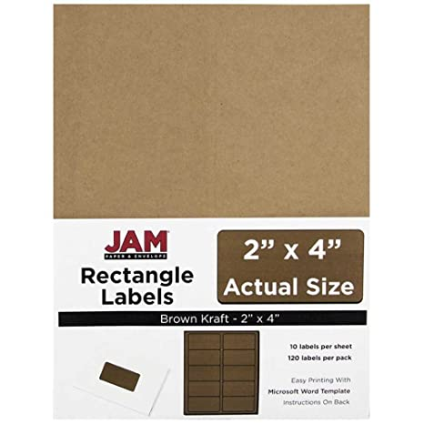 JAM PAPER Shipping Address Labels - Standard Mailing - 2 x 4 - Brown Kraft  - 120/Pack