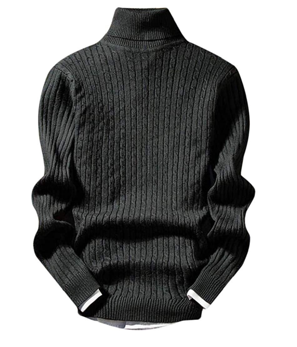 GRMO Men Solid Long Sleeve Turtleneck Cable Knit Slim Fit Pullover Sweater