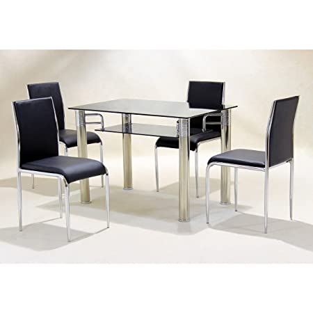 Center One Dining TABLE ONLY - Vercelli Black Glass Top