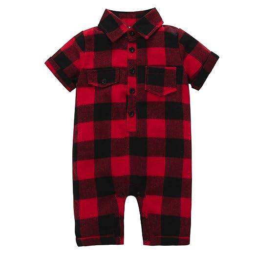8c53adb9dbfa Minisoya Newborn Infant Toddler Baby Girl Boy Plaid Romper Playsuit Jumpsuit  Lattice Button Lapel T-