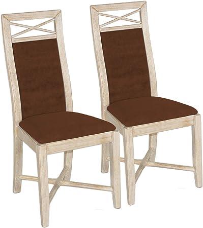 Silla Comedor Set 2 Piezas de sillas de Madera Maciza de Pino y Asiento tapizado Volver masivamente: Amazon.es: Hogar